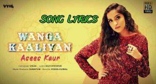Wanga Kaaliyan lyrics – Asees Kaur   Raj Fatehpur